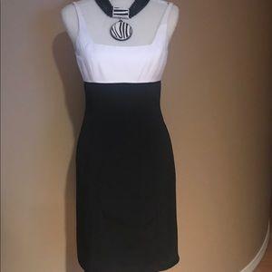 Black and white sleeveless dress...